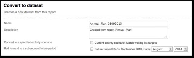 Convert report to dataset