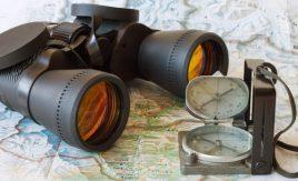 Binoculars, compass, map